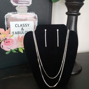 Layered Rhinestone Necklace & Earrings
